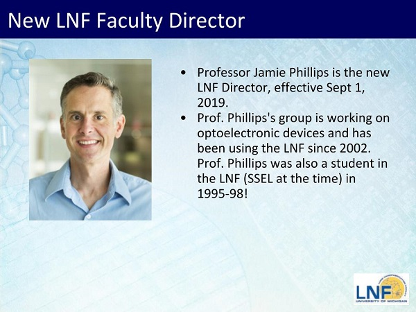 2019 Prof Phillips new LNF director – Click slide below for the full story